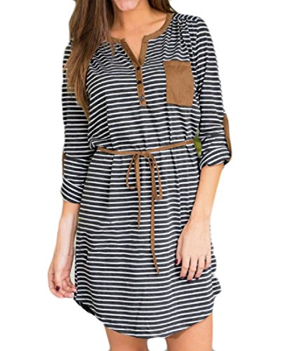 up Women s Dress Button With Belt Coolred Top Pattern1 Long Tees Sleeve Stripe aSqf58wd