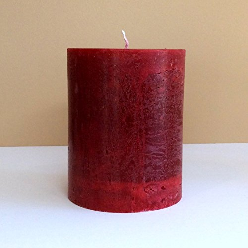 Cranberry Red Candle - Unscented Rustic Pillar Extra Big 4