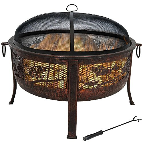Sunnydaze Northwoods Fishing Fire Pit, 30-Inch Diameter, with Spark Screen ()