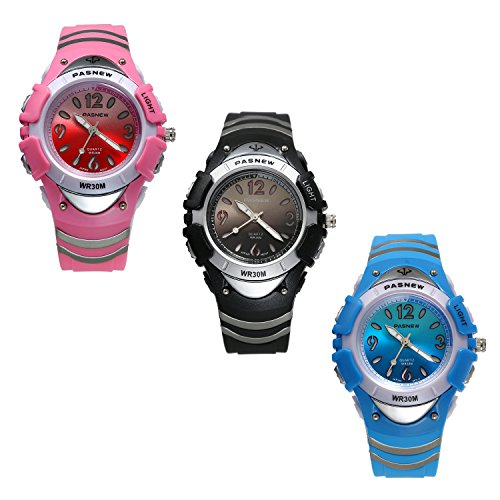 7 Colors Flashing Kid Rubber Watch, Children's Day Gift 30M Water Resistant, Chronograph Stopwatch Sport Watch (3PCS) by Lancardo