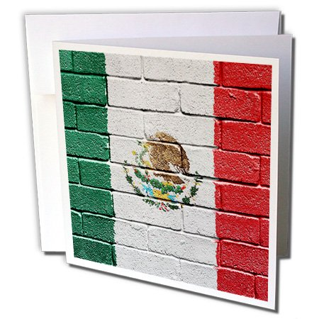 (National flag of Mexico painted onto brick wall Mexican - Greeting Card, 6 x 6 inches, single (gc_156940_5))