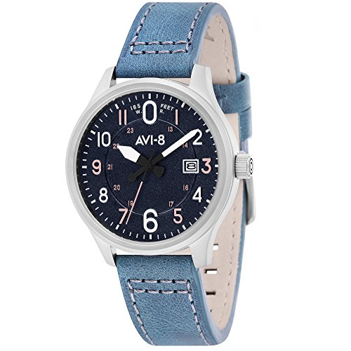 AVI-8 Men's AV-4053-0F Hawker Hurricane Stainless Steel Watch with Blue Genuine Leather Band
