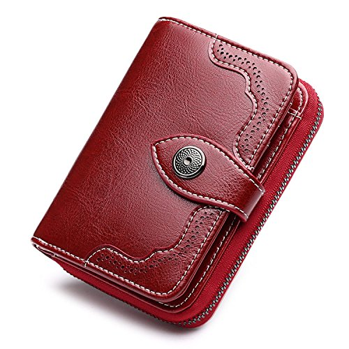 Bifold Genuine Leather Wallet for Women Mini Coin Purse Ladies Vintage Handbag Small Card Organizer Case Burgundy
