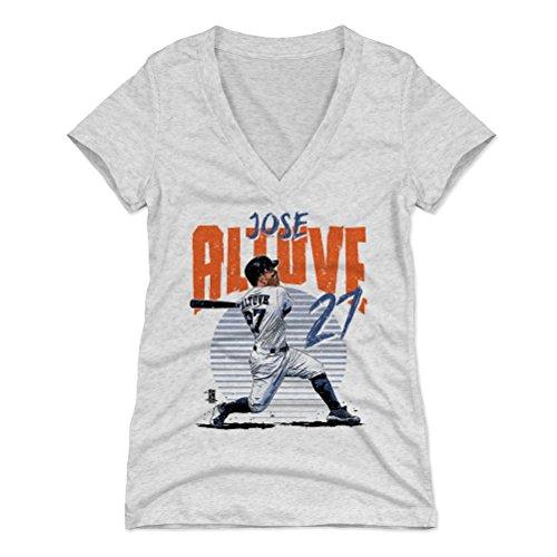 500 LEVEL Jose Altuve Women's V-Neck Shirt Medium Tri Ash - Houston Baseball Women's Apparel - Jose Altuve Rise B