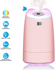 LoiStu USB Humidifier, 280ml Mini Portable Humidifier with 7-Color LED Night Light, Auto-Off, Ultra-Quiet, Suitable for Home, Office, Baby Room, Car (Pink)