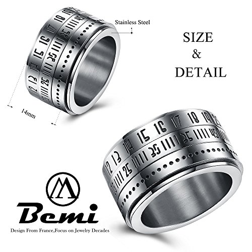 BEMI Elegant Rotatable Engraved Roman Numerals Band Ring Personality Cool Style Statement Rings for Mens 10 by BEMI (Image #2)