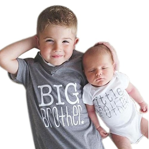 TOOPOOT Baby Boy Short Sleeve T-Shirt Tops Casual Funny Printing Letter 'Big BROTHER'T Shirt Tops (5T- Height:120CM, Gray)