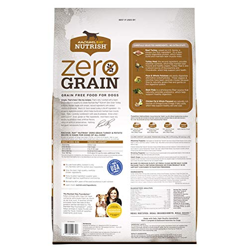 Rachael Ray Nutrish Zero Grain Natural Dry Dog Food, Turkey & Potato Recipe, 28 Pounds, Grain Free