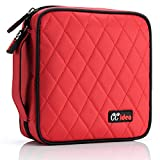 40 Capacity CD/DVD/VCD Case Wallet Portable Polyester Disc Storage Case Holder Nylon Material Bag for Car, Home Office and Travel Carrying Case Bag Protector Organizer (Red)