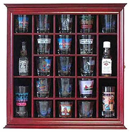 Attirant 21 Shot Glass Shooter Display Case Holder Rack Wall Cabinet, Glass Door,  SC01 (