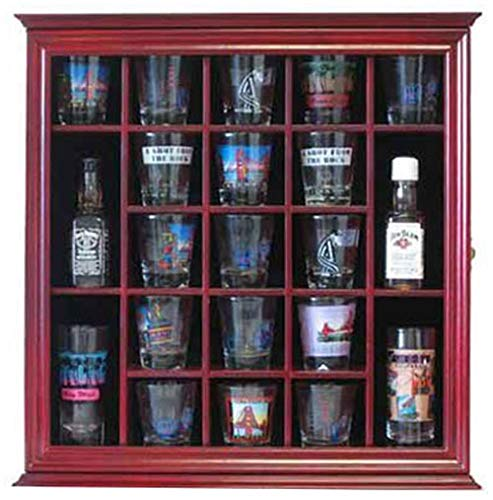 21 Shot Glass Shooter Display Case Holder Rack Wall Cabinet, Glass Door, SC01 (Cherry Finish)