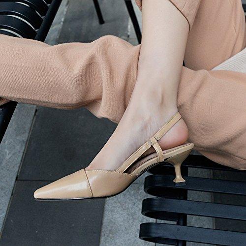 Style Navetteurs Hauts De Sandales Simple Kaki Talons Chat Zz À Pour Élégant Élastique Chaussures Banquet Les 6Uqn1vH