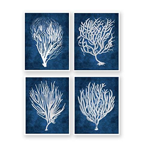 (Navy Blue Beach Decor Wall Art Set of 4 Unframed Art Prints Beach Decor Sea Corals Sea Fan Decor)