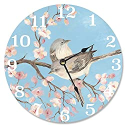 Stupell Home Décor Blue Blossom Bird Decorative Vanity Wall Clock, 12 x 0.4 x 12, Proudly Made in USA
