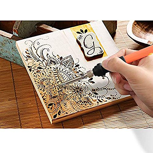 39 Tips+2 Stencils,2 Pencils,1 Stand Embossing//Carving// Soldering Tips Creative Wood Burning Temperature Adjustable with On-Off and with Soldering Pyrography Woodburning Pen 46pcs Wood Burning Kit
