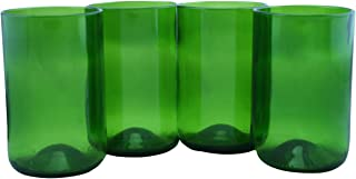 product image for Tumblers Drinking Glasses Made From Recycled Wine Bottles 12 Oz - set of 4 (Dark Green, 12 Oz)