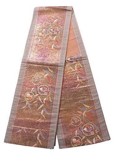 ロシアオアシス備品リサイクル 袋帯 揚羽蝶に菊や橘 柳文 正絹 六通