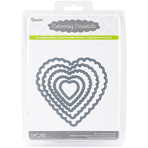 Darice Embossing Essentials Dies, Nesting Scallop Hearts, 5-Pack (Scallop Heart)