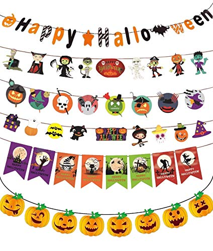 Happy Halloween Banner Set Garland Bunting Cute Party Decorations for Kids Decor kit Indoor 2018 by jjcarolina