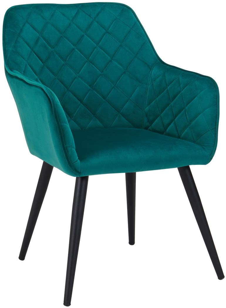Duhome Dining Chairs,Contemporary Accent Chairs Single Sofa Velvet Fabric Cushion Seat Metal Legs Rack Support Middle-Back Soft Back Chairs for Living Room Home Office Cafe Restaurant Green