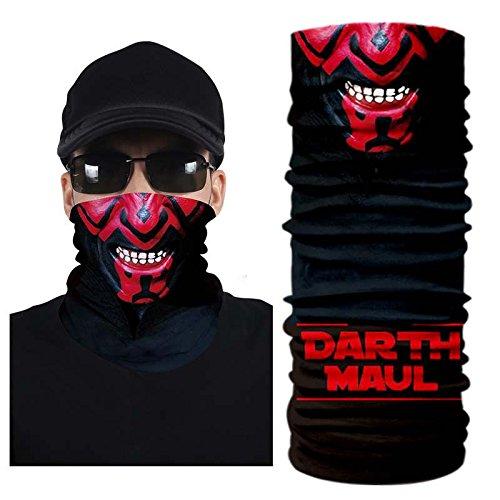 Purpplex 3D Creative Motocross Snowboard Ski Riding Paintball Music Festivals Face Mask Neck Gaiter Scarf Bandana Multi Functional Headwear for All Outdoor Activites - Darth Maul