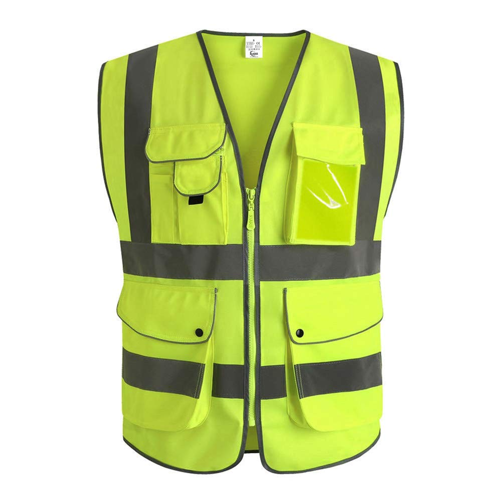 XIAKE Class 2 Reflective Safety Vest with 9 Pockets and Front Zipper High Visibility Safety Vests,ANSI/ISEA Standards(Large,Neon yelloww)