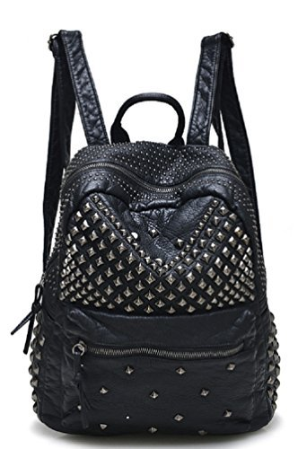 Sannea Womens Studded Black Leather Backpack Casual Pack Fashion School Bags for Girls - Shen Leather