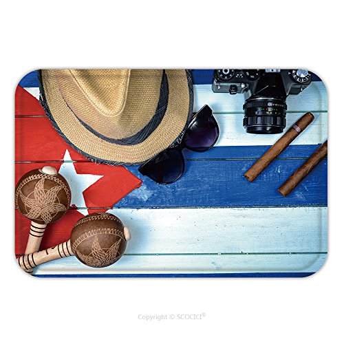 Film Related Costumes (Flannel Microfiber Non-slip Rubber Backing Soft Absorbent Doormat Mat Rug Carpet Cuba Related Vintage Items On Painted National Flag 223510183 for Indoor/Outdoor/Bathroom/Kitchen/Workstations)