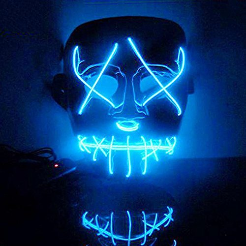 Halloween Party Mask,Jchen(TM) Clearance Merry Halloween The Purge Movie EL Wire DJ Party Festival Halloween Costume LED Mask (Blue) -