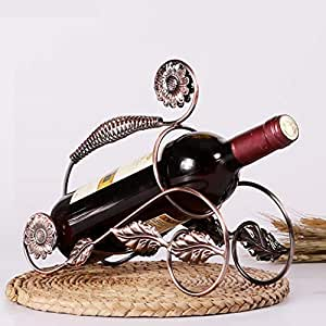 MXD Wine Rack Creative Decoration European Display Stand Wine Cabinet Decoration Wine Shelf Living Room Wrought Iron Begonia Flowers Shape Wine Bottle Rack