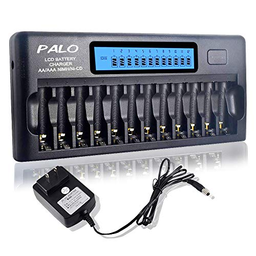 - Palo 12 Bay/Slot AA/AAA Battery Charger for Ni-MH/Ni-CD Batteries with Smart LCD Display