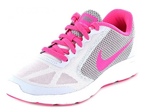 NIKE Kids Revolution 3 (GS) Running Shoes Platinum Pink Grey White iQSxuR4B