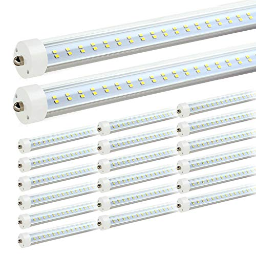 JESLED T8/T10/T12 8FT LED Tube Light, Single Pin FA8 Base, 50W 6000LM, 5000K Daylight White, 96