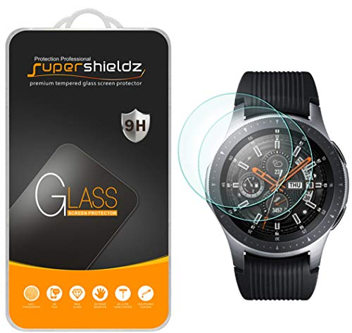 [2-Pack] Supershieldz for Samsung Galaxy Watch (46mm) Tempered Glass Screen Protector, (Full Screen Coverage) Anti-Scratch, Anti-Fingerprint, Bubble Free -Lifetime Replacement