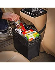 KMMOTORS Jopps Foldable Car Garbage Can Patented Car Wastebasket Comfortable Multifuntional Artificial Leather and Oxford Clothes Car Organizer Enough Storage for Garbage (CA)