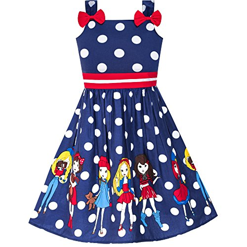 LY95 Girls Dress Cartoon Navy Blue Dot Bow Tie Summer Size 8