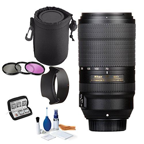 Nikon AF-P DX NIKKOR 70-300mm f/4.5-6.3G ED VR Lens Bundle with Professional HD Filters, Lens Hood, Lens Case, 5 Piece Super Savings Lens Starter Kit.