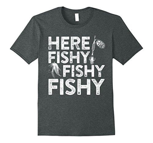 Mens Here Fishy Fishy Fishy T-Shirt Funny Fisherman Shirt 2XL Dark (Here Funny T-shirt)
