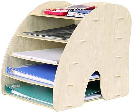WJYLM archivo estante de escritorio del archivo Organizador, escritorio de madera caja de almacenamiento de suministros de oficina de acabado archivo de almacenamiento Caja de almacenamiento en rac.: Amazon.es: Oficina y papelería