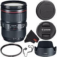 Canon EF 24-105mm f/4L IS II USM Lens 1380C002 (White Box) + 77mm UV Filter + MicroFiber Cloth + Lens Cap Keeper Bundle