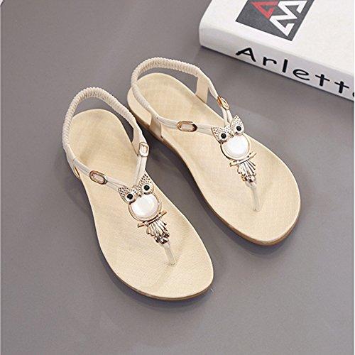 Antiskid Flops Vintage Gemstones Bohemia Sandals Beach Ladies Flip Folk Beige Thongs Flat Women wTOX4qTg