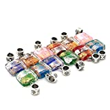 So Beauty 10 pcs Square Lampwork Glass Pendant Dangle Beads for Bracelets Necklace