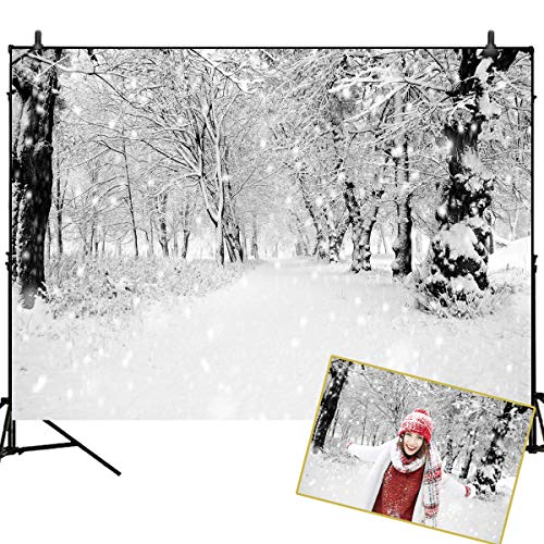 Mehofoto Winter Snowing Backdrops for Photography White Frozen Forest Background 7x5ft Christmas Vinyl Backdrops for Children Kids Photoshoot Home Party Decoration Photo Studio Props