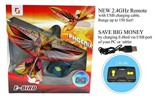(2.4GHz REMOTE CONTROL FLYING PHOENIX E-BIRD with life-like flapping wing. Great kids gift for indoor & out door use.)