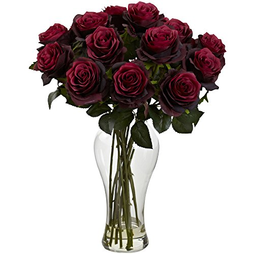 Nearly Natural Blooming Roses with Vase, Burgundy