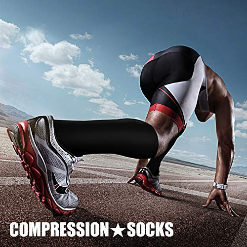 Compression Socks (3 Pairs), 15-20 mmhg is BEST Athletic & Medical for Men & Women, Running, Flight, Travel, Nurses, Pregnant - Boost Performance, Blood Circulation & Recovery (Large/X-Large, Black) by CHARMKING (Image #3)