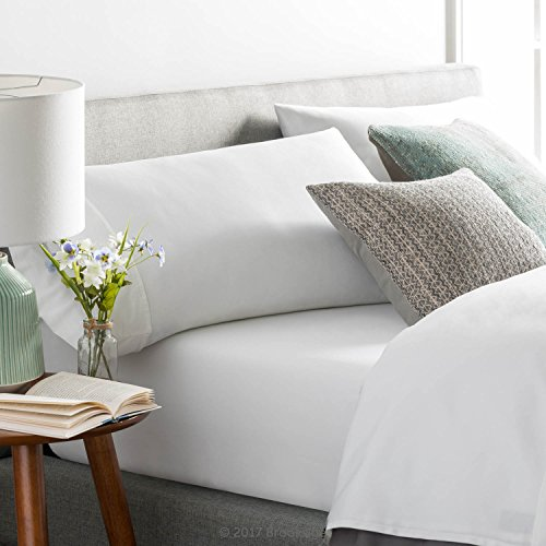 Brookside Blend Sheet Set-Wrinkle Resistant-Rich Cotton Look and Feel-Easy Care Fabric-Deep Pocket Design-Queen-White