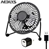 AEDILYS 4 Inch Mini USB Fan ,Office Fans with 360 Rotation , (A Free Adapter, Metal Design, Large Air Flow, Quiet Operation) Portable USB Desk Fan Mini Table Fan and Travel Mini Fan (4 Inch, Black)