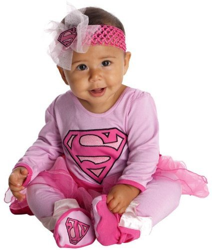Best Halloween Costumes For Baby Girl (DC Comics Supergirl Onesie And Headpiece, Pink, 6-12 Months)