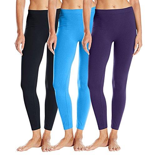 3 Pack: Women's Basic Leggings - One Size - Black,Sky (Animals Womens Sweatpants)